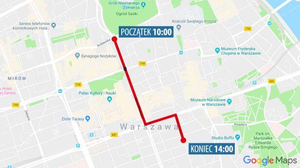 Trasa przemarszu demonstracji klimatycznej Google maps / tvn24.pl