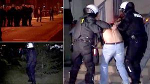 Szturm policji, kulejący funkcjonariusz się wycofuje. Zamieszki na filmie