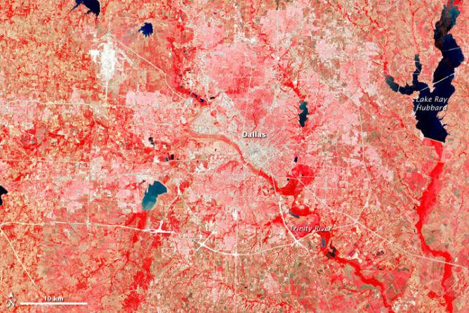 Okolice Dallas w Teksasie, 25 lipca 1972 - zdjęcie z satelity Landsat 1