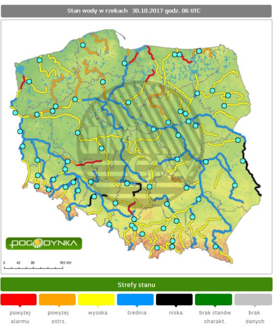 Stan wody w rzekach w poniedziałek o godz. 6 (IMGW)