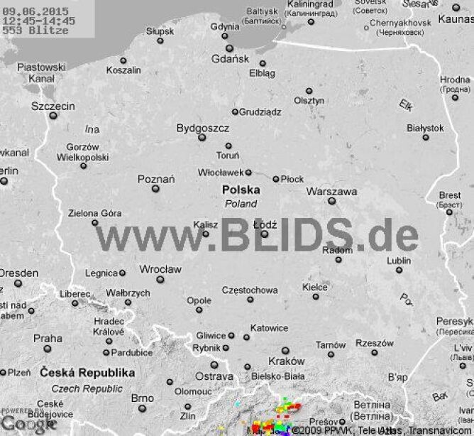 Wyładowania atmosferyczne na terenie Polski w godz. 12.45 - 14.45 (blids.de)