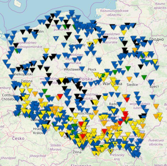 Stan rzek w Polsce o godzinie 20.00 (monitor.pogodynka.pl/IMGW)