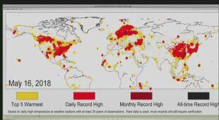 Animacja pokazująca miejsca, w których pobita została średnia temperatura dzienna (źródło: NOAA)  | wideo bez dźwięku
