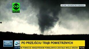 Janina Trepińska z Zakładu Klimatologii Uniwersytetu Jagiellońskiego o prognozowaniu trąb powietrznych (TVN24)